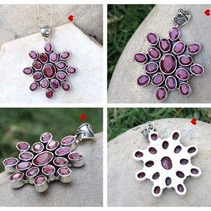 925 Silver Crystal Ruby Gemstone Unique Handmade